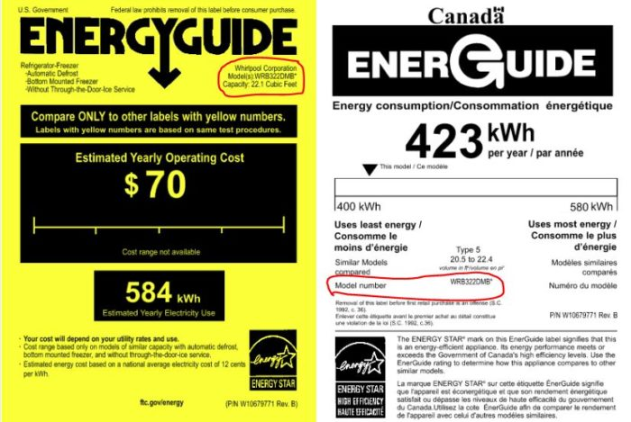 how to read an energy guide label