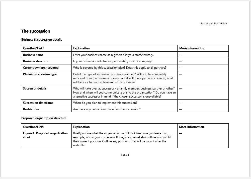 products and services guide template